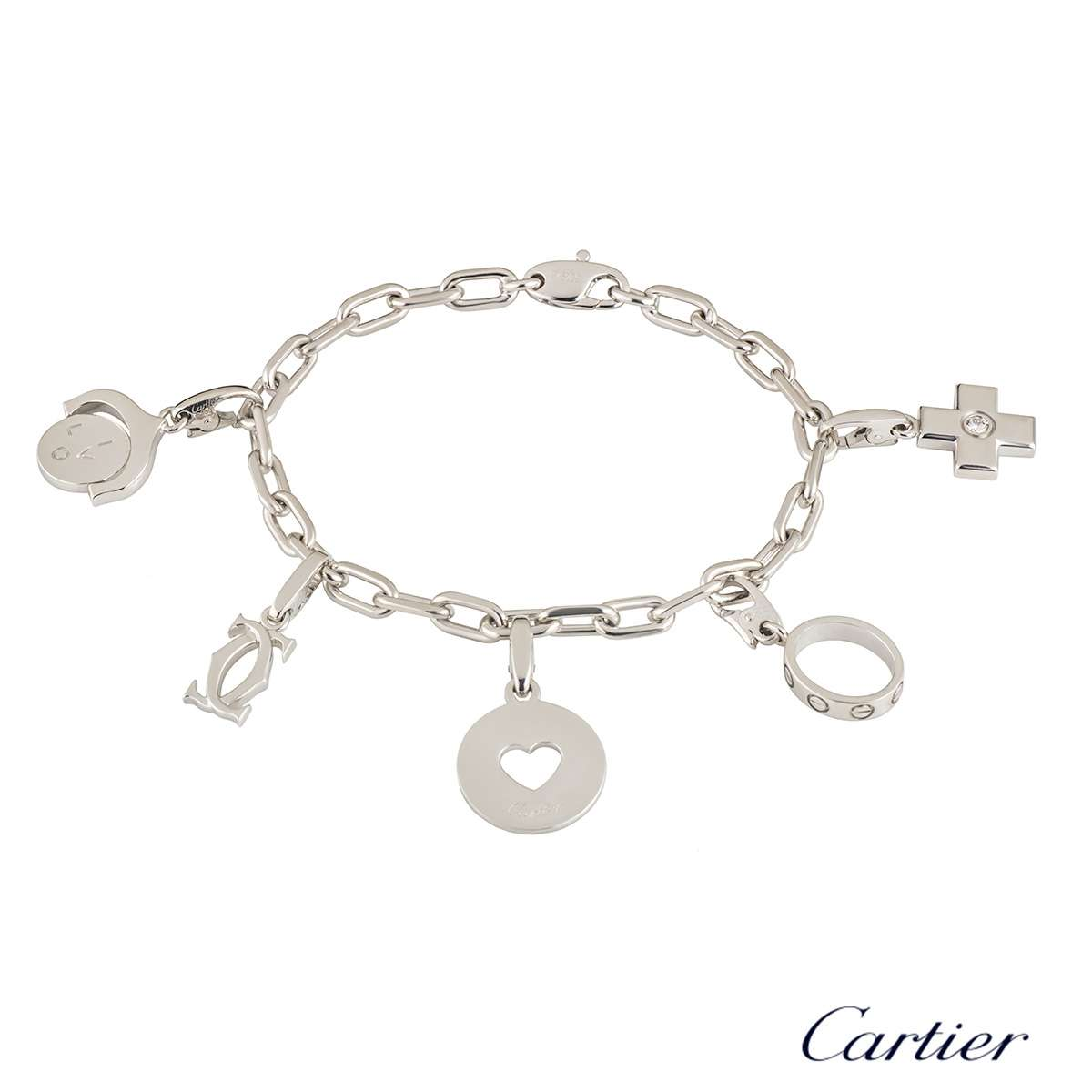 cartier white gold diamond charm bracelet rich diamonds